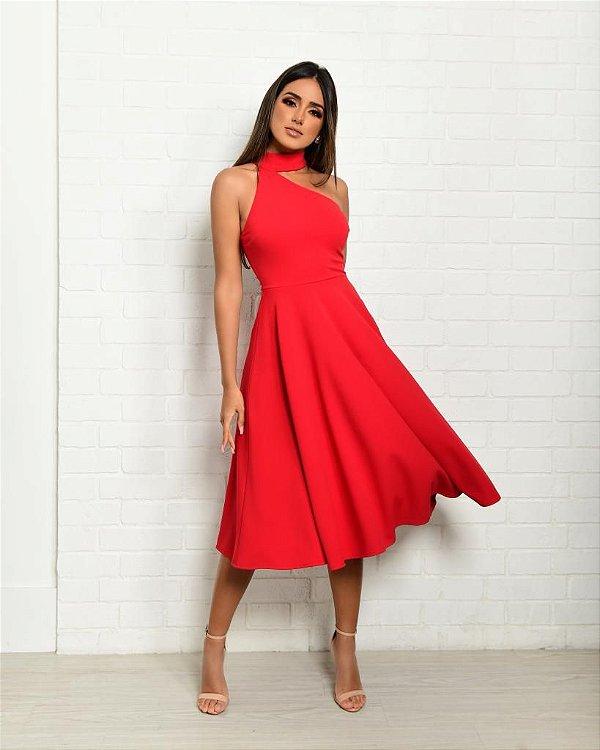 Vestido Midi Vermelho Anna
