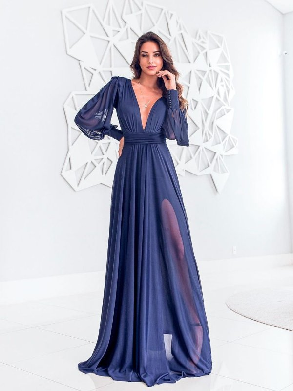Vestido Longo com manga removível Monalisa