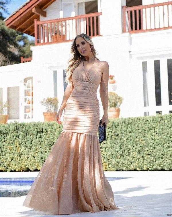 Vestido Drapeado Lurex Modelo Sereia