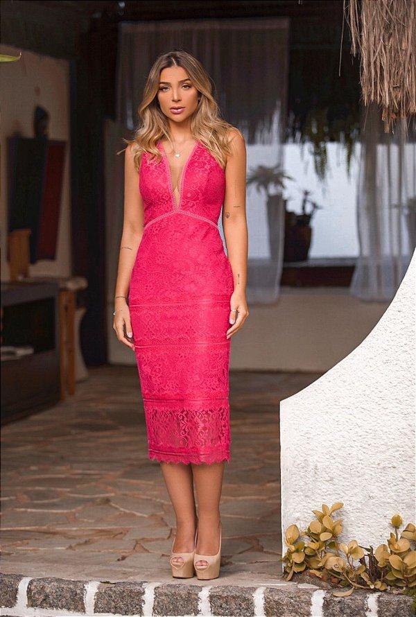 Vestido Midi Pink Floripa Doce Maria