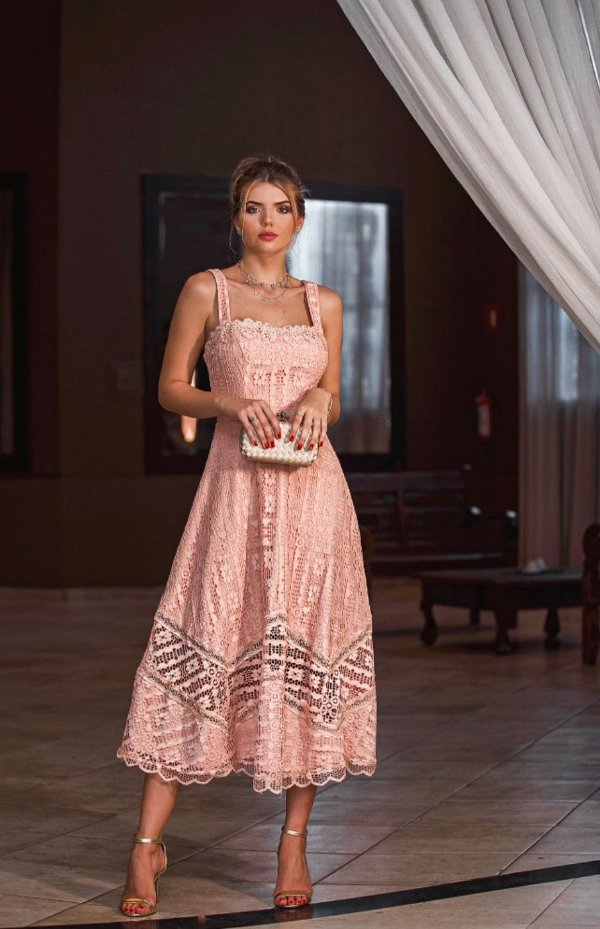 Vestido Midi Doce Maria Rose Giovanna