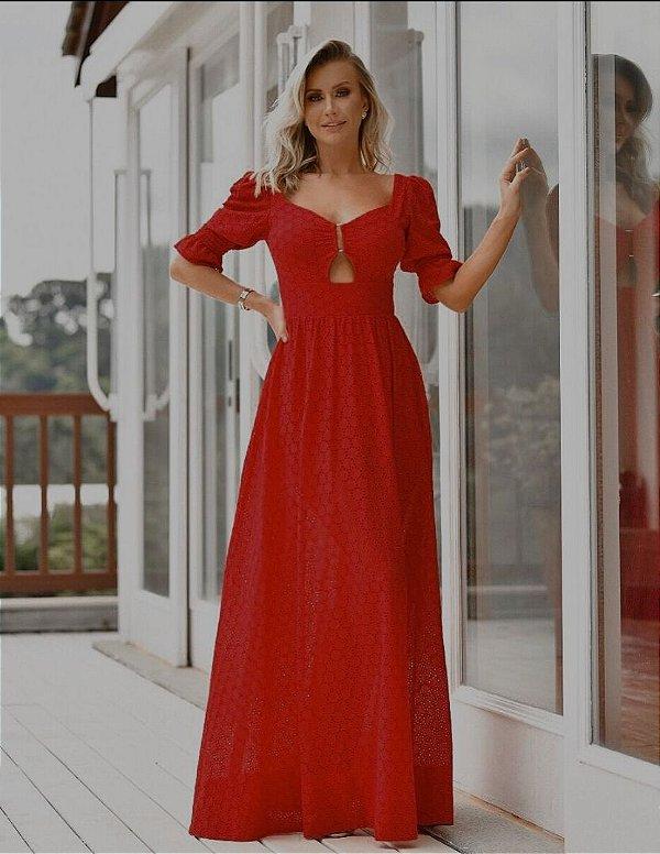 Vestido em Laise Vermelho Dot