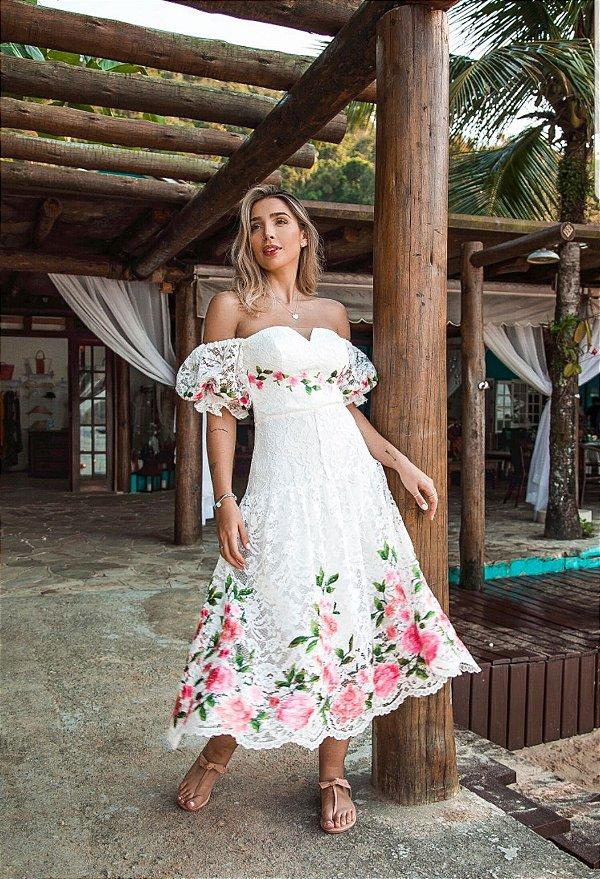Vestido Midi Doce Maria Garden