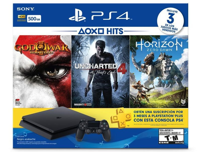 console PLAYSTATION 4 SLIM 500GB C/ GOW 3 / HORIZON / UNCHARTED 4
