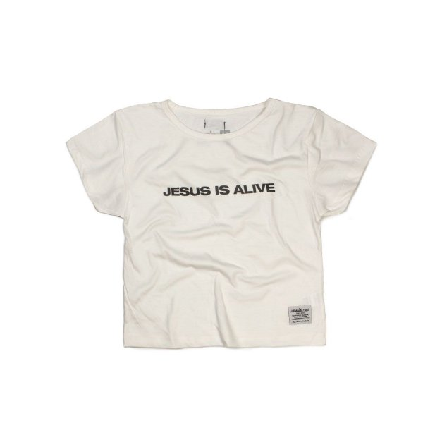 CROPPED JESUS IS ALIVE OFF WHITE