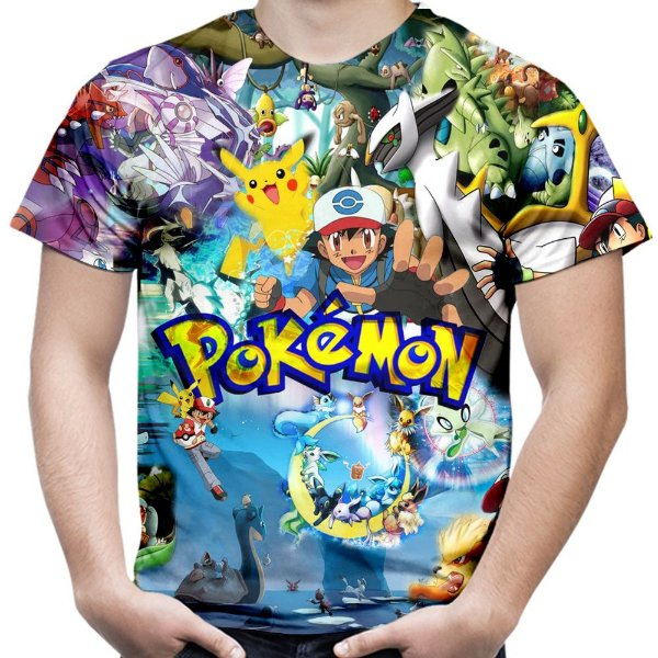 Camiseta Masculina Pokemon Estampa Total MD02