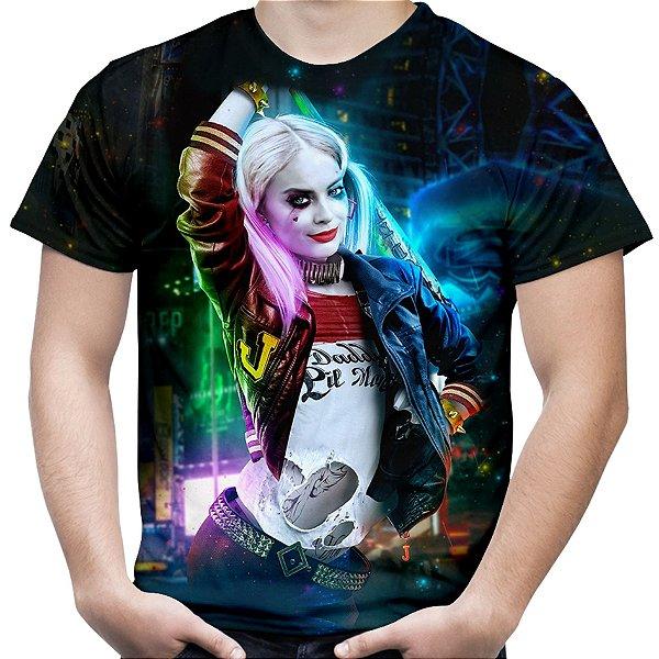 Camiseta Masculina Arlequina Harley Quinn Estampa Total