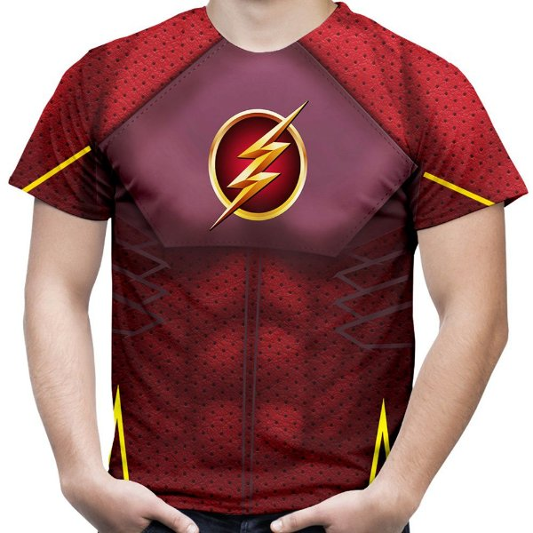 Camiseta Masculina Flash Traje Estampa Total