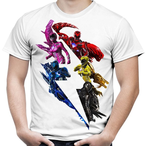 Camiseta Masculina Power Rangers Estampa Total Md02