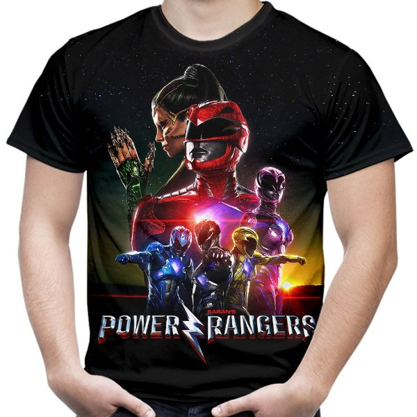 Camiseta Masculina Power Rangers Estampa Total Md03
