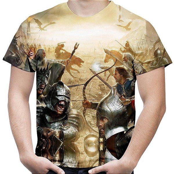 Camiseta Masculina O Senhor dos Anéis Batalha Estampa Total