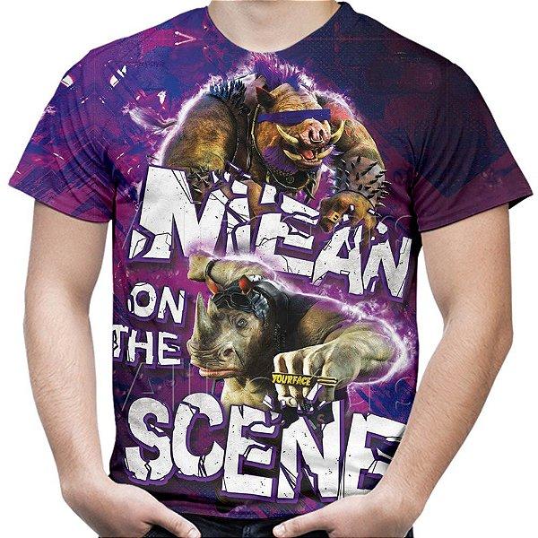 Camiseta Masculina Bebop e Rocksteady Tartarugas Ninja Estampa Total