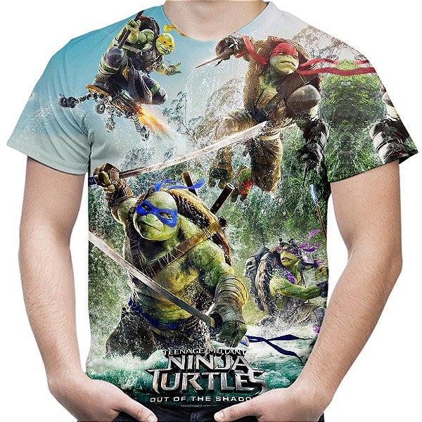 Camiseta Masculina Tartarugas Ninja Estampa Total Md01
