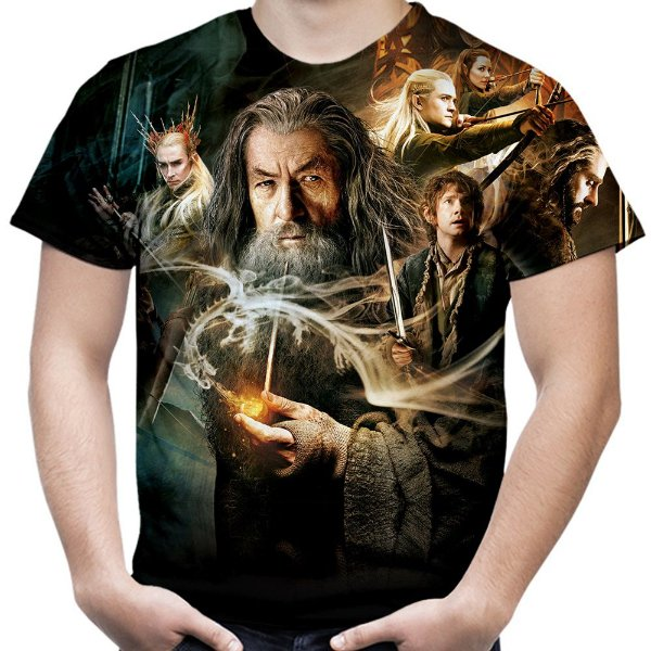 Camiseta Masculina O Hobbit Estampa Total Md02