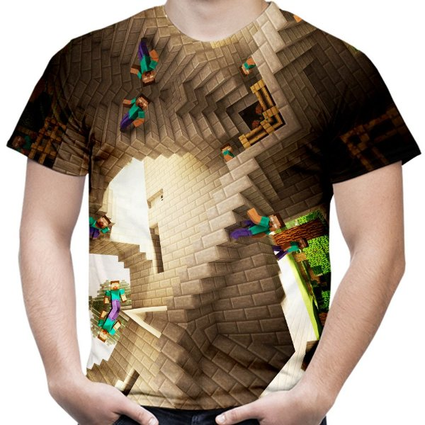 Camiseta Masculina Minecraft Estampa Total Md01