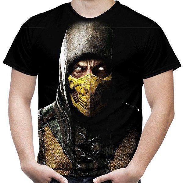 Camiseta Masculina Scorpion Mortal Kombat Estampa Total