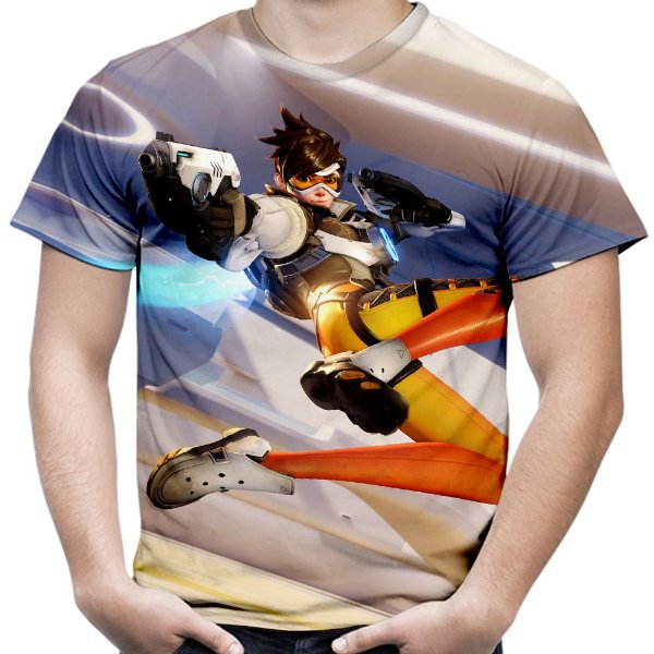 Camiseta Masculina Overwatch Tracer Estampa Total Md02
