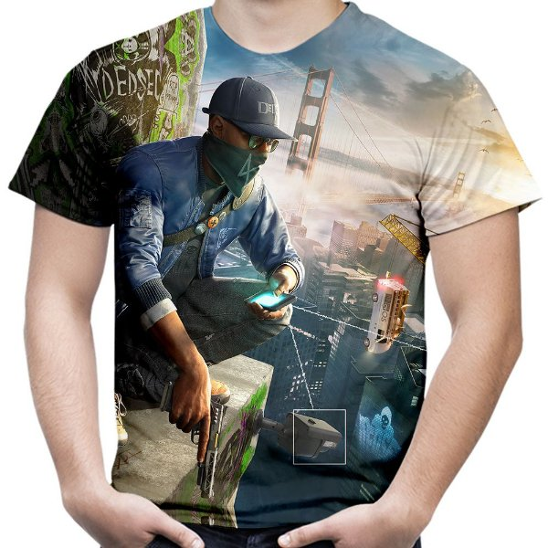 Camiseta Masculina Watch Dogs Estampa Total Md02