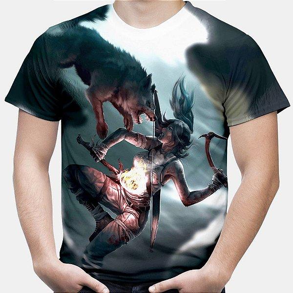 Camiseta Masculina Tomb Raider Estampa Total