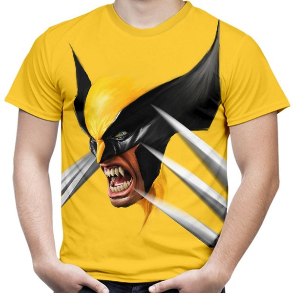 Camiseta Masculina Wolverine Face Estampa Total