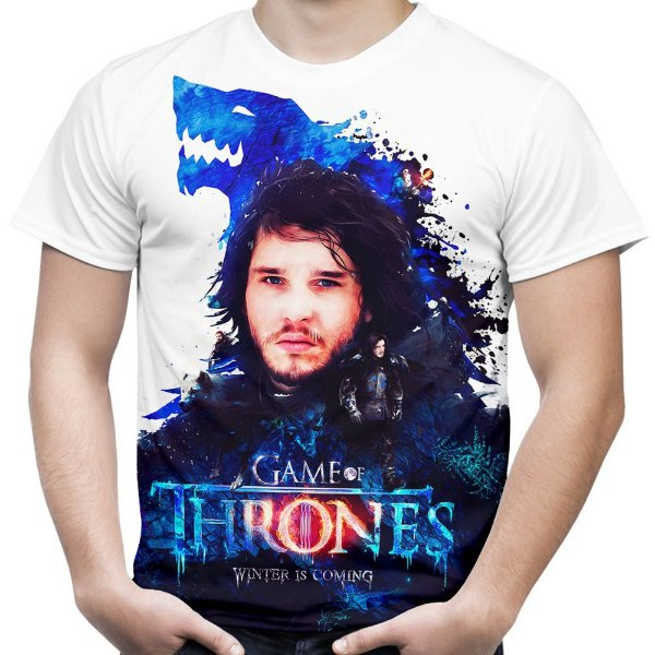 Camiseta Masculina Game of Thrones Jon Snow Estampa Total