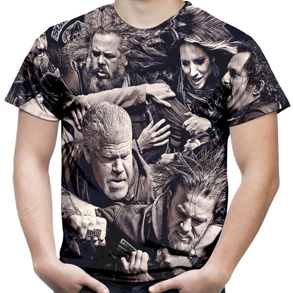 Camiseta Masculina Sons of Anarchy Estampa Total