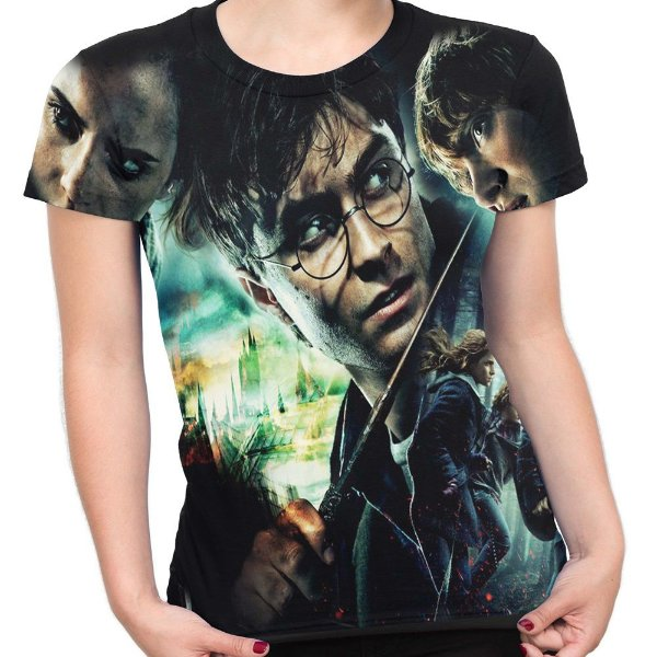 Baby look Feminina Harry Potter Estampa Total Md01