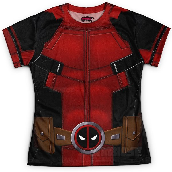Baby look Feminina Deadpool Traje Estampa Total
