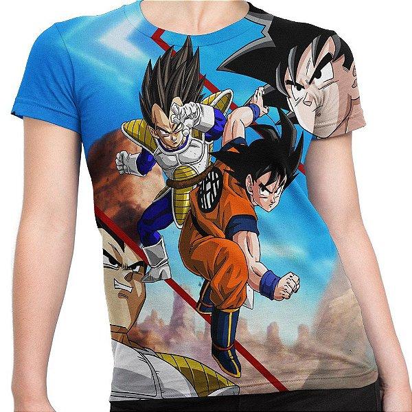 Baby look Feminina Goku e Vegeta Estampa Total MD05