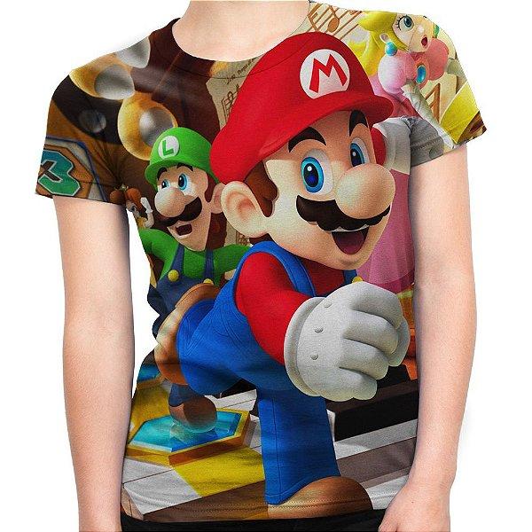 Baby look Feminina Mario Bros Estampa Total Md01