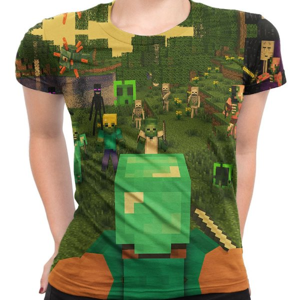 Baby look Feminina Minecraft Estampa Total Md02