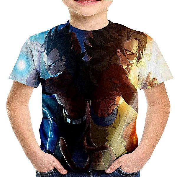 Camiseta Infantil Goku e Vegeta Super Saiyajins Estampa Total MD04