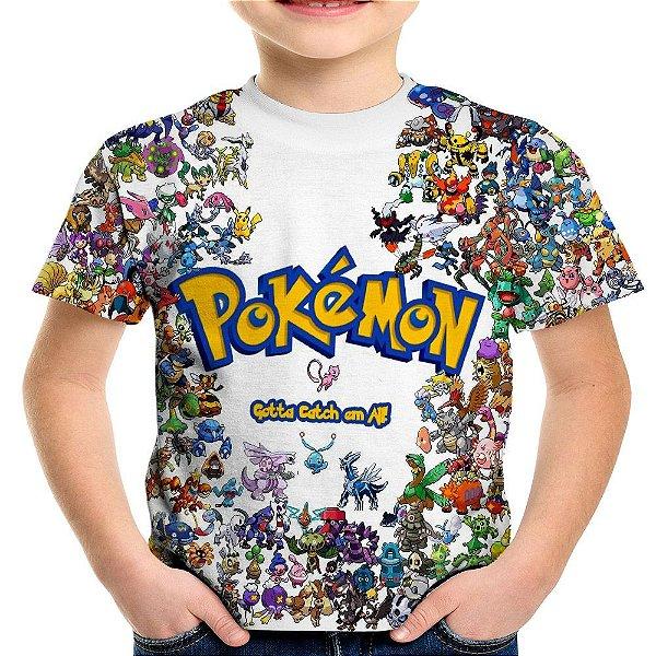 Camiseta Infantil Pokemon Estampa Total MD01