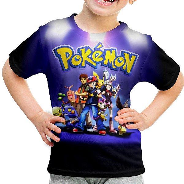 Camiseta Infantil Pokemon Estampa Total MD03