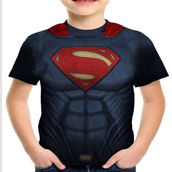Camiseta Infantil Superman Armadura Estampa Total