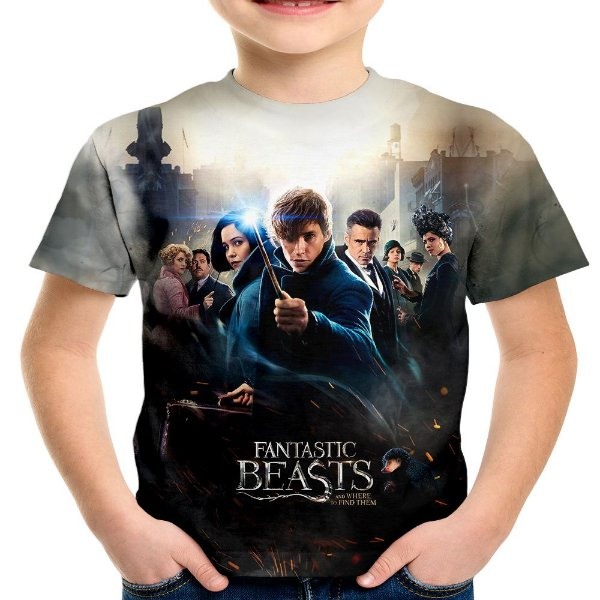 Camiseta Infantil Animais Fantásticos e Onde Habitam Estampa Total
