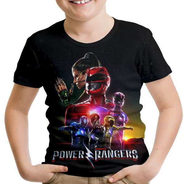 Camiseta Infantil Power Rangers Estampa Total Md03