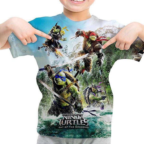 Camiseta Infantil Tartarugas Ninja Estampa Total Md01