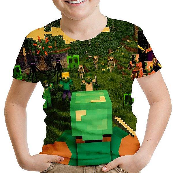 Camiseta Infantil Minecraft Estampa Total Md02