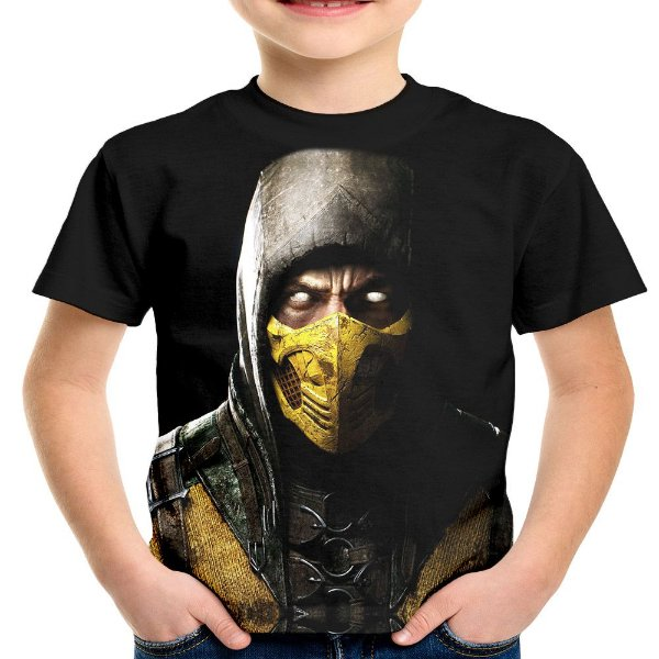 Camiseta Infantil Scorpion Mortal Kombat Estampa Total