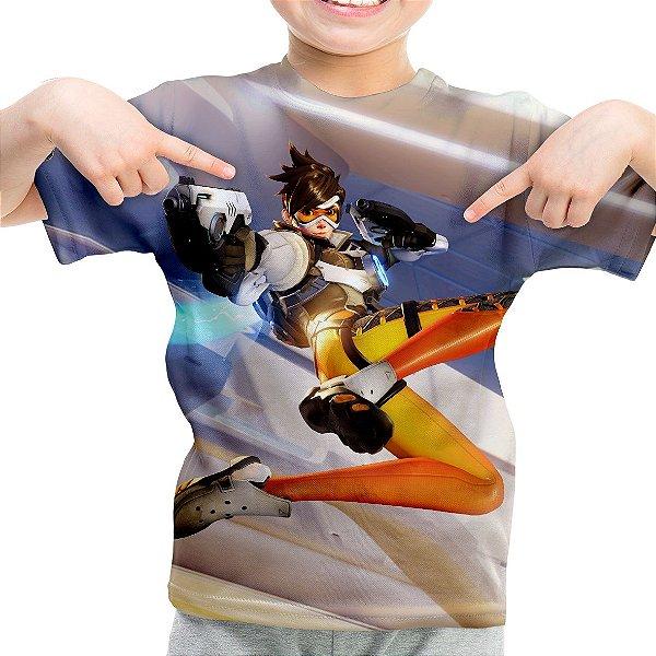 Camiseta Infantil Overwatch Tracer Estampa Total Md02