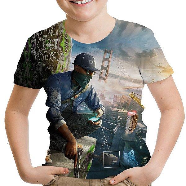 Camiseta Infantil Watch Dogs Estampa Total Md02