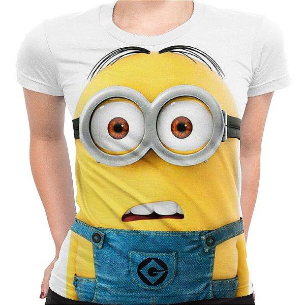 Camiseta Baby Look Feminina Minions Estampa Digital Md01