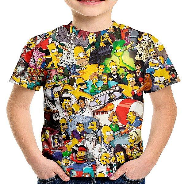 Camiseta Infantil Os Simpsons Estampa Digital Md02