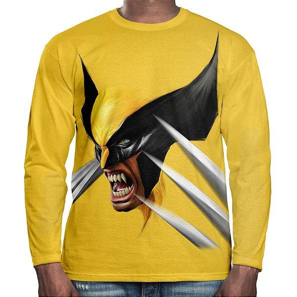 Camiseta Masculina Manga Longa Wolverine