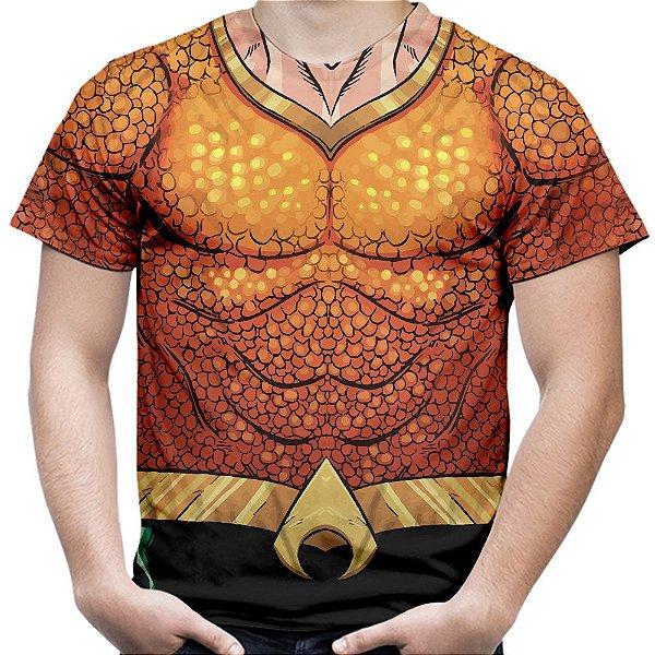 Camiseta Masculina Aquaman Fantasia Uniforme