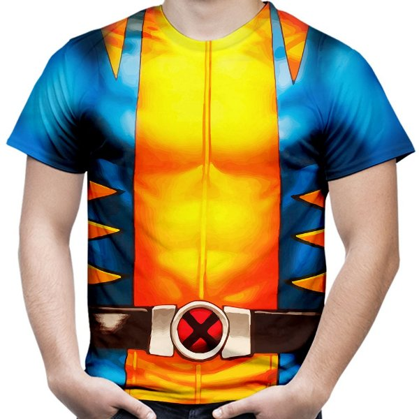 Camiseta Masculina Wolverine Traje Volverine Armadura