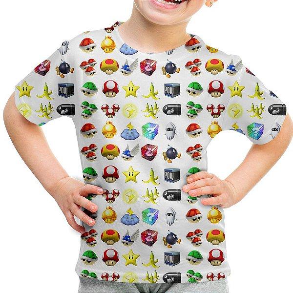 Camiseta Infantil Super Mário Bros Icones Md05