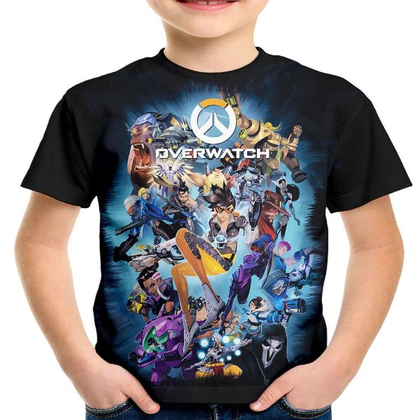 Camiseta Infantil Jogo Overwatch Estampa Hd Over Watch Md4