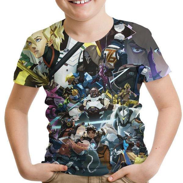 Camiseta Infantil Jogo Overwatch Estampa Hd Over Watch Md6